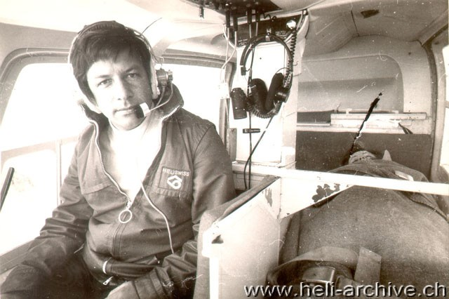 At the controls of a Jet Ranger used as aerial ambulance