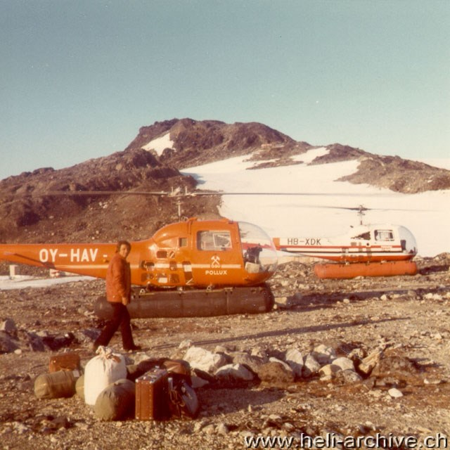 Greenland 1972 - Ernest Devaud with the two 47 Rangers used to transport a group of geologits and their equipment