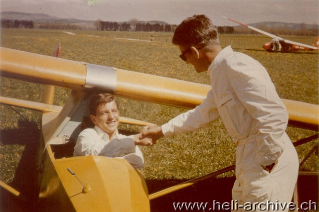 1964 - At the controls of a sailplane KA-6 at the airport of Ecuvillens