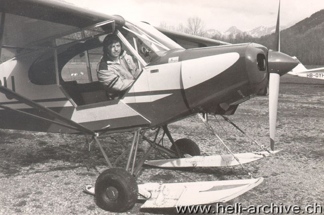 1969 - At the controls of a Piper Super Cub fitted with skis to operate on snowed surfaces