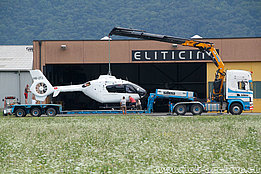 Locarno airport/TI, July 2015 – The EC 135P2 HB-ZTJ in service with Swiss Helicopter (O. Colombi)