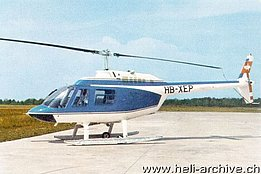 Geneva airport 1975 - The Agusta-Bell 206B Jet Ranger II HB-XEP in service with Transair (HAB)