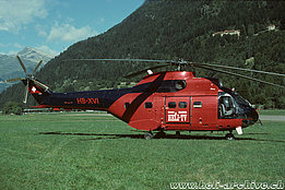 Ambrì/TI, August 1994 - The SA 330J Puma HB-XVI in service with Heli-TV (HAB)