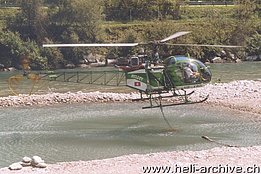 Iragna/TI, July 2003 - The SA 315B Lama HB-XRD in service with Heli TV (M. Ceresa)