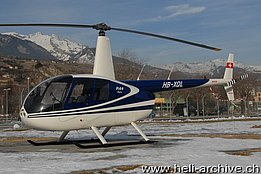Sion/VS, January 2009 - The Robinson R-44 Raven I HB-XQL in service with Valair (N. Däpp)
