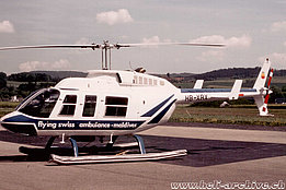 Belp/BE, 1987 - The Bell 206L-1 Long Ranger HB-XRX operated by Hoffmann Hans-Peter (archive E. Krebs)