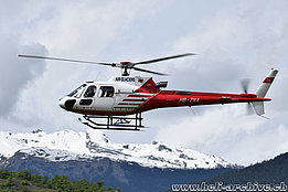 Sion/VS, May 2015 - The AS 350B3 Ecureuil HB-ZNA in service with Air Glaciers (M. Bazzani)