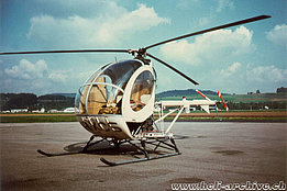 The Hughes 269B HB-XCS photographed in Belp/BE in 1975 (P. Schüpbach)