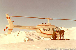 Swiss Alps, late 1960s - Heli-ski with the Bell 206A Jet Ranger HB-XCF in service with Aztec SA (HAB)
