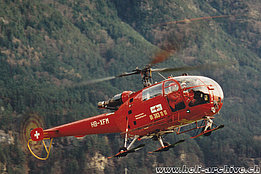 Erstfeld/UR, early 1990s - The SA 319B Alouette 3 HB-XFM in service with REGA (HAB)