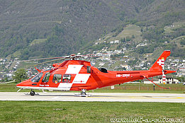Locarno airport/TI, April 2017 - The AW 109SP Da Vinci HB-ZRW in service with Rega (M. Bazzani)