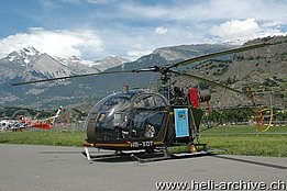 Sion/VS, July 2007 - The SE 3130 Alouette 2 HB-XQT in service with Air Vampire SA (photo M. Bazzani)