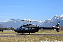 Locarno airport/TI, March 2015 - The Agusta-Bell 206B Jet Ranger III HB-ZPZ in service with Airport Helicopter AHB AG (M. Bazzani)