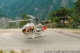 Schallberg/VS, June 1989 - The SA 315B Lama HB-XTU in service with Air Glaciers (B. Pollinger)