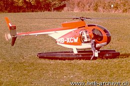 Early 1970s - The Hughes 369HS HB-XCW equipped with floats (M. Gay)