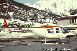 Samedan/GR, March 1999 - The Bell 206B Jet Ranger III HB-XSI temporarily in service with Air Grischa (M. Bazzani)