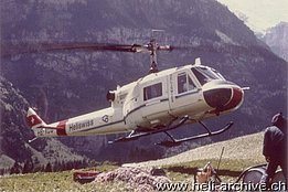 Kandersteg/BE, Summer 1972 - The Agusta-Bell 204B HB-XCQ in service with Heliswiss (archive T. Lötscher)