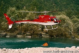 Valle Maggia/TI, Summer 2003 - The AS 350B3 Ecureuil HB-ZDV in service with Heliswiss (O. Colombi)
