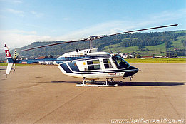 Belp/BE, 1990s - The Bell 206B Jet Ranger III HB-XUE in service with Heliswiss (K. Albisser)