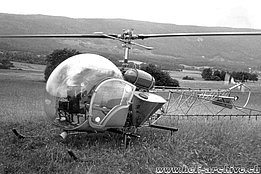 1958 - The Agusta-Bell 47G HB-XAV equipped with a spray kit (HAB)