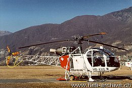 Locarno airport/TI, Januarz 2002 - The SA 315B Lama HB-XXS of Eliticino (M. Bazzani)
