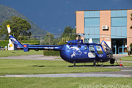 Locarno airport/TI, June 2015 - The BO-105S HB-ZJF in service with Skymedia (O. Colombi)