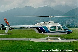 Locarno airport, September 1996 - The Bell 206A/B Jet Ranger II HB-XDH (s/n 578 - b/y 1970) in service with Eliticino (M. Bazzani)