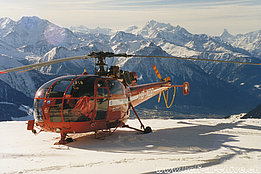 Valais Alps, February 1998 - The SA 316B Alouette 3 HB-XQD in service with Air Zermatt (HAB)