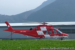 Locarno airport/TI, May 2014 - The AW 109SP Da Vinci HB-ZRZ in service with Rega (M. Bazzani)
