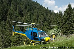 Lostallo valley/GR, July 2014 - The AS 350B2 Ecureuil in service with Heli Rezia (M. Bazzani)