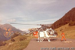 Campello/TI (Leventina Valley), September 1981 - The SA 315B Lama HB-XGG in service with Eliticino (HAB)