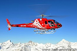 Zermatt/VS, February 2012 - The AS 350B3e Ecureuil HB-ZPB of Air Zermatt piloted by Peter Zurniwen (photo Hans Zurniwen)
