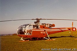 Belp/BE airport, October 1971 - The helicopter SE 3160 Alouette III HB-XDE in service with the Federal office of civil aviation (photo E. Devaud)
