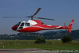 Belp/BE, August 2012 - The AS 350B3e Ecureuil HB-ZNI in service Swiss Helicopter AG (photo H. P. Zurcher)