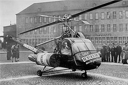 1954 - The Hiller 360 HB-XAA of Air Import piloted by Sepp Bauer during a series of advertising flights in Germany (archive Bauer)