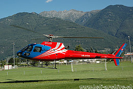 Camorino/TI, August 2008 - The AS 350B2 Ecureuil HB-XSO of Heli-TV (M. Bazzani)