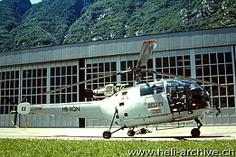 Lodrino/TI, June 2000 - The SE 3160 Alouette III HB-XQN in service with Heli TV (M. Bazzani)
