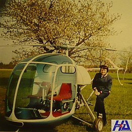 Airport of Locarno, about 1975 - The helicopter Berger BX-110 HB-YAK fitted with a wheels landing gear (HAB)