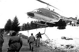 Gruyères/FR region, October 1974 - The Bell 206A/B Jet Ranger II HB-XCP in service with Heliswiss at work (HAB)
