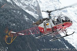 Lauterbrunnen/BE, January 2014 - The SA 315B Lama HB-XTO in service with Air Glaciers (O. Colombi)