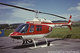 Belp/BE, 1970s - The Agusta-Bell 206B Jet Ranger 2 HB-XDP in service with the Swiss Air Rescue Guard (archive P. Wernli)