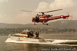 Early '80s - The SA 319B Alouette III HB-XGU involved in a SAR operation on the lake (HAB)