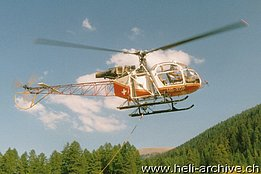 Goms/VS, September 1989 - The SA 315B Lama HB-XGP in service with Air Glaciers piloted by Bernhard Pollinger (B. Pollinger)