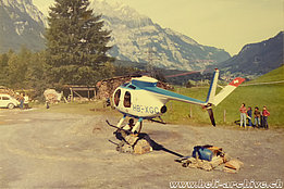 Swiss Alps 1977 - The Hughes 500C HB-XGC in service with Fuchs Helikopter (family Kolesnik)