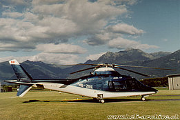 Locarno airport/TI, July 2002 - The Agusta A109C HB-ZEE in service with Intracom General Machinery (M. Bazzani)