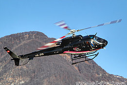 Locarno airport/TI, January 2020 - The AS 350B3e Ecureuil HB-ZYA in service with Tarmac Aviation SA (M. Ceresa)