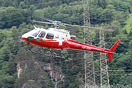 Erstfeld/UR, June 2019 - The AS 350B3e Ecureuil HB-ZWT in service with Swiss Helicopter (Avijoy)