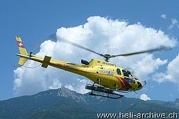 Locarno airport/TI, July 2013 - The AS 350B3 Ecureuil HB-ZHY in service with Air Glaciers (M. Bazzani)