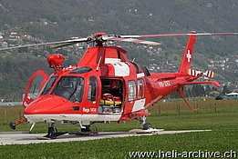 Locarno airport/TI, April 2014 - The AW 109SP Da Vinci HB-ZRZ in service with Rega (O. Colombi)