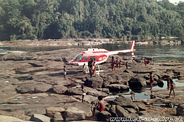 Suriname/South America, February 1974 - The Bell 206A/B Jet Ranger II HB-XDH in service with Heliswiss (HAB)
